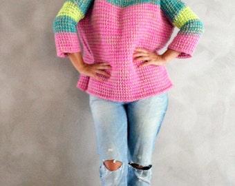 Hand gestrickt Pink Neon Gelb Türkis Pullover handgemachte Pullover bunt gestreiften Pullover Winter Pullover eines eine Art Mohair Strick Pullover