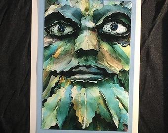 blank notecard - Green Man (Watercolor)