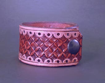 Ornate Hand Tooled Leather Cuff - Brown & Tan