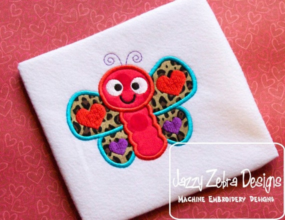 Valentine Butterfly Applique embroidery Design - Valentines Day appliqué design - Valentine appliqué design - butterfly applique design