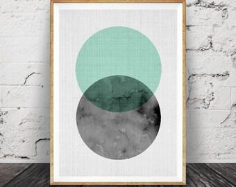 Modern Wall Art, Minimalist Decor, Geometric, Circle Print, Mint Green and Black, Scandinavian Style, Design, Printable, Large Poster Art