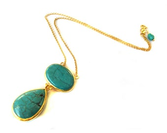 Turquoise Necklace with Oval and Tear Drop Cut stones, turquoise pendant, turquoise necklace, big turquoise necklace, big turquoise pendant