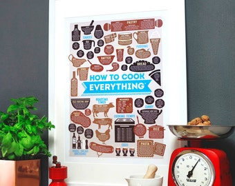Kitchen print: How To Cook Everything A2 Poster - cooking gift - kitchen poster - recipe print - kitchen art - kitchen wall art