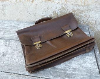 Vintage Antique 1930/1950 French original SCHOOL BAG / real leather