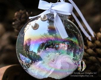 Perfect Pearls White Flower Glass Round Ornament, Wedding Ribbon Bow Trim Glitter, Crystal Bead Gem Christmas Holiday Tree Decor