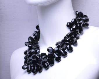 Black Onyx Two Strand Gemstone Statement Necklace