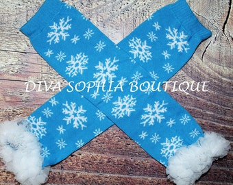 Snowflakes Leg Warmers with Ruffles