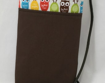 Cell Phone Pouch, Cross body Phone Pouch, Owls with Contrasting Brown Fabric