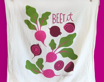Kitchen Towel, Beet it Screen Printed Tea Towel