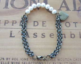 Freshwater Pearl and Brass Heart Bracelet