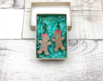 Lebkuchen-Mann-Frau-Ohrringe