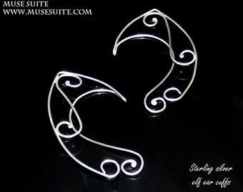 EAR CUFFS made in sterling silver - Elf ear cuff - Elf ears - Elven ear cuff - Elven ears - Fairy Ears - Ear cuffs . Elvish