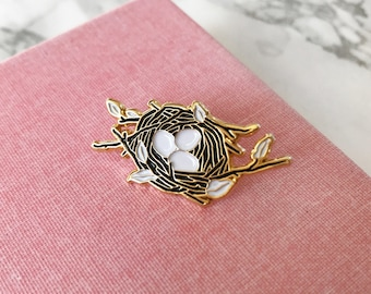 Bird Nest Pin, Soft Enameled Lapel Pin, Collectible Art Jewlery by Minnow&Moss