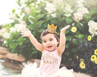 Glitter Crown || First Birthday || Bride Medium Crown || Bachelorette Party Headband || Gold Glitter Photo Prop