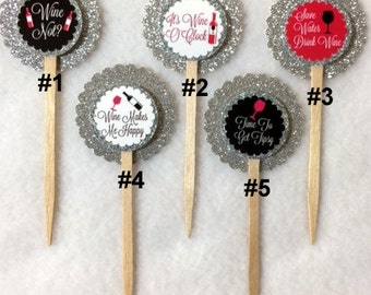 Set Of 12 Wine Cupcake Toppers (Your Choice Of Any 12