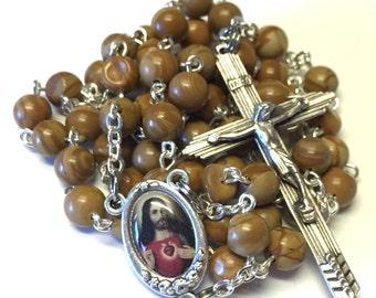 Sacred Heart of Jesus Catholic Handmade Rosary in Tigerskin Jasper Beads