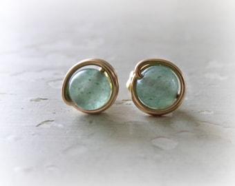 Aventurine Stud Earrings, Gold Stud Earrings, Gold Filled Studs, Green Stud Earrings, Natural Stone Studs, Green Stone Earrings, Stone Studs