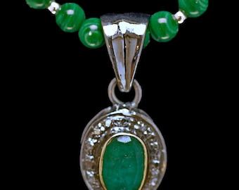 Vintage Turkish Emerald and Rose Cut Diamonds