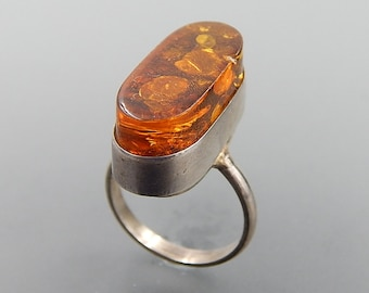 Poland sterling silver honey Baltic amber high dome ring size 8.5 SKU 5631