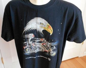 Vintage 90s Lakota Scoot Jim Yellowhawk 1997 Biker T Shirt Black XL Eagle Chopper