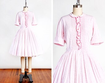 DARLING Vintage 1950s OLD GREENWICH Pink Floral Cotton Shirtwaist Day Dress // Summer // Full Skirt // County Fair // Rockabilly