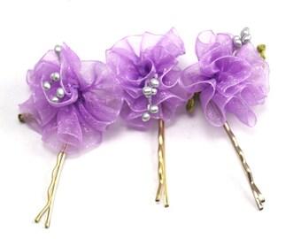 Purple Organze, Tulle Ribbon Flower, Wedding Bobby Pins-3 pcs