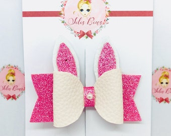 Pink or Blue Bunny Bow