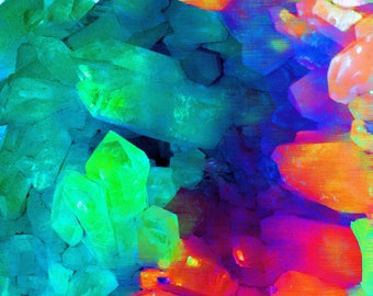 Abstract art from quartz crystal formation - green and orange - various sizes - LIMITED EDITION of 9
