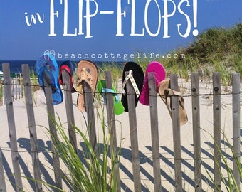 Day at the Beach -Seaside Serendipity, Flip Flops Lining the Dune Fence on the way to the Ocean Wall Art Photography Bright Colorful)