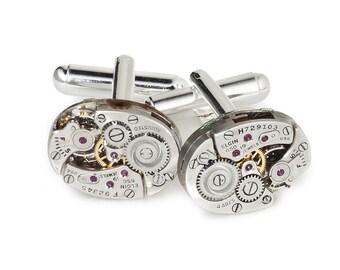 Steampunk Cufflinks, Elgin Watch Cuff Links, Wedding Anniversary Gift, Grooms Formal Wear Vintage Silver Cuff Links, Mens Jewelry