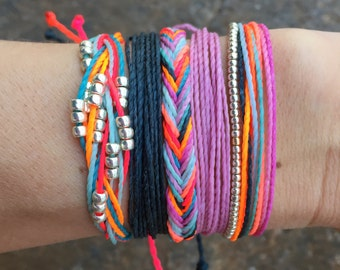 Set of 5! stackable bracelets, wax string bracelet, waterproof bracelet, beaded bracelet - Neon Rainbow