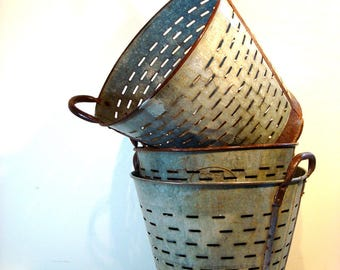 Vintage Zinc and Metal Extra Large Olive collecting Baskets