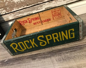 Very Rare Vintage 1966 Rock Spring Beverages Wood Soda Crate Shakopee MN