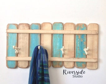 Wood Rustic Coat Rack Nautical Blue / Coat Hook / Shabby Chic Cottage Beach Nautical Towel Rack / Beach Decor