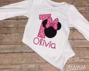 Embroidered Minnie Mouse Birthday bodysuit/ shirt