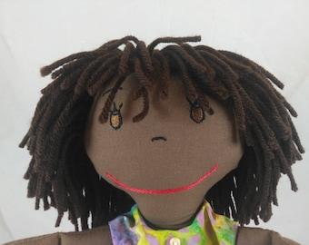 Custom Cloth Rag Doll, African American Rag Dolls, Embroidered Face, Personalized Rag Dolls, Shower gift, Fabric Doll, Stuffed Doll