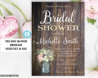 Rustic Bridal Shower Invitation Template, Rustic Invitation, Editable,Printable, Shower Template, Bridal Shower Invitation, INSTANT DOWNLOAD