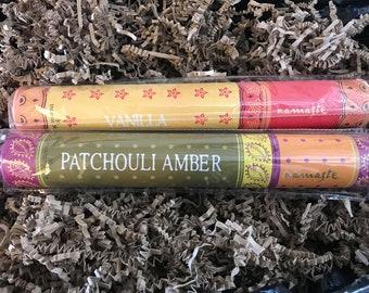Mehindi incense tubes vanilla patchouli amber