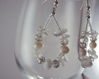 SOLD - Wedding White Freshwater Pearl, Crystal & Glass Hoop Earrings