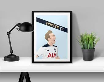 Christian Eriksen Tottenham Hotspur Illustrated Poster Print   A6 A5 A4 A3
