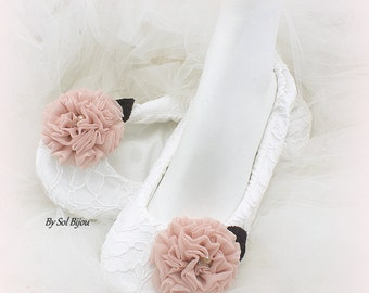 Bridal Ballet Flats in White Blush Purple Vintage Style Custom Wedding Shoes
