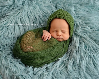 Mossy Green Stretch Knit Wrap Newborn Photography Prop