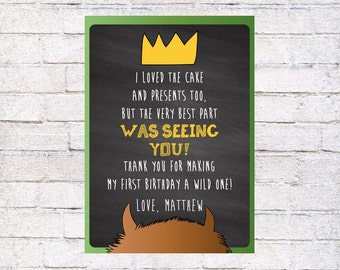 Where the Wild Things Are Thank You Card, Wild Things Personalized Thank You Note, Thank You For Wild Party, First Birthday Wild Thing