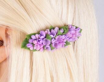 lilac hair barrette, flower hair barrettes