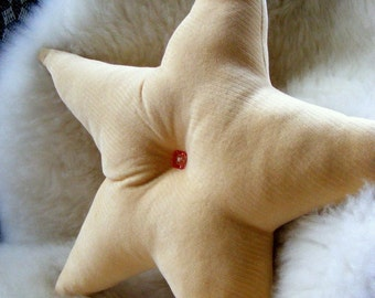 Velvet Star Pillow Accent Throw Pillow in Buttercream Yellow with Vintage Buttons