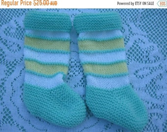 ON SALE Beautiful Baby Pale Green, Yellow and White Socks Hand Knitted for a Baby