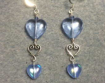 Large and small matching light blue Czech glass heart bead earrings joined by a silver Tierracast heart connector charm.