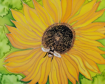 Hand Painted Hand Dyed Silk Wall Hanging BEE KIND Sunflower with Bee 16x20 Birthday Housewarming Mothers Day Fathers Day