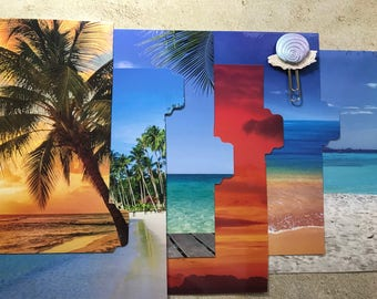 Planner divider set with planner clip.  Six (6) A5 tabbed and laminated. Tropical Beach.