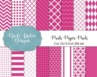 Pink Patterned Paper Pack -INSTANT DOWNLOAD